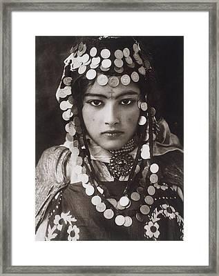 An Algerian Girl Wears A Dowry Of Gold Framed Print by Lehnert and Landrock