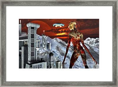 An Alien Being Overlooks Its Base Built Framed Print by Mark Stevenson