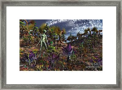 An Alien Being Surveys The Colorful Framed Print by Mark Stevenson
