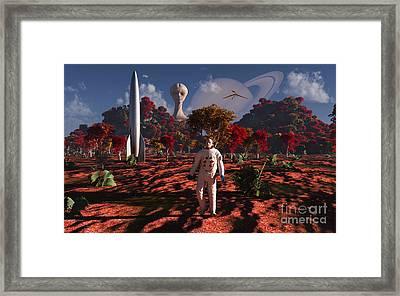 An Alien Being Watches A Human Framed Print by Mark Stevenson