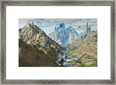 An Alien Reptoid Looks Upon The Ruins Framed Print by Mark Stevenson