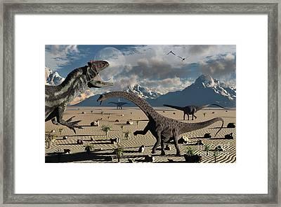 An Allosaurus Confronts A Small Group Framed Print by Mark Stevenson