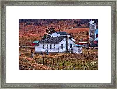 An Amish Farm Framed Print by Tommy Anderson