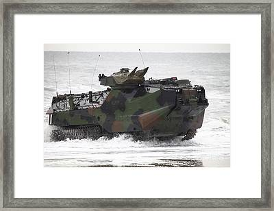 An Amphibious Assault Vehicle Drives Framed Print