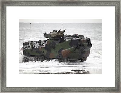An Amphibious Assault Vehicle Drives Framed Print by Stocktrek Images