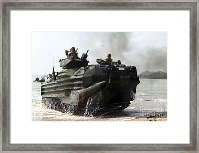 An Amphibious Assault Vehicle Hits Framed Print by Stocktrek Images