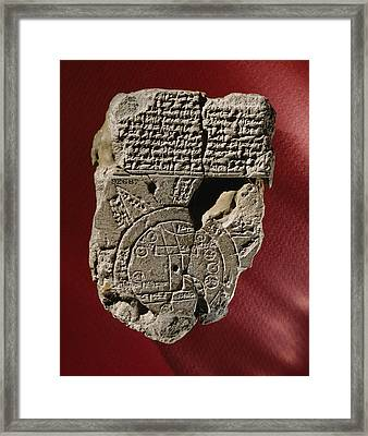 An Ancient Mesopotamian Map And Text Framed Print by Victor R. Boswell, Jr