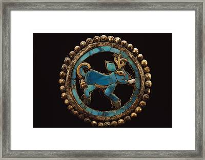 An Ancient Moche Indian Ear Ornament Framed Print