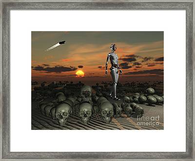 An Android Walks Amongst A Pile Framed Print