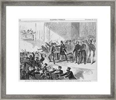 An Angry Mob Broke Up A Meeting Framed Print