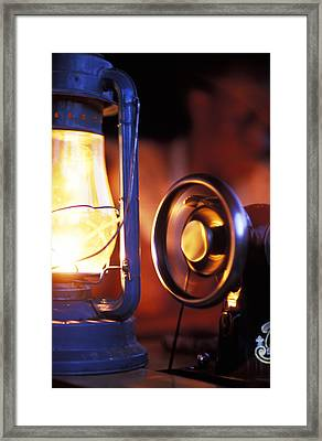 An Antique Sewing Machine Spinning Framed Print by Jason Edwards