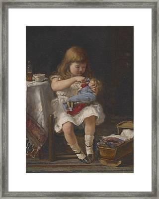 An Anxious Mother Framed Print by Percival de Luce