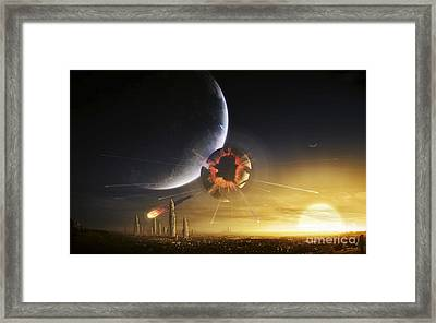 An Apocalyptic Scene Showing A Gravity Framed Print