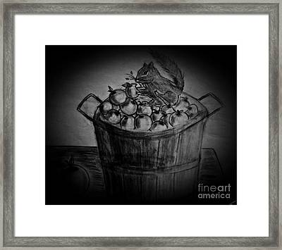 Framed Print featuring the drawing An Apple A Day by Ayasha Loya