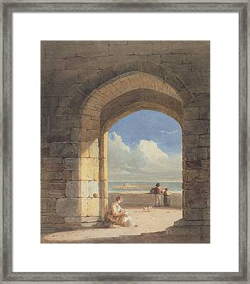 An Arch At Holy Island - Northumberland Framed Print by John Varley