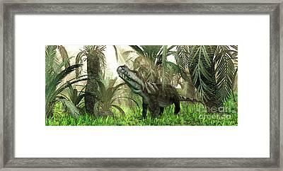 An Archosaur Wanders Amidst Cycads Framed Print by Walter Myers