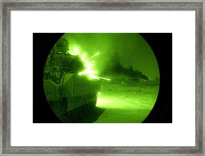 An Army Bradley Fighting Vehicle Opens Framed Print by Everett