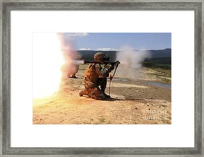 An Assaultman Fires A Rocket Propelled Framed Print
