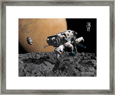 An Astronaut Makes First Human Contact Framed Print by Walter Myers