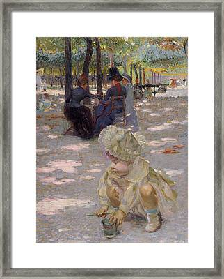 An August Afternoon At The Luxembourg Framed Print by Henri-edmond Cross