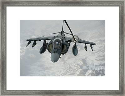 An Av-8b Harrier Receives Fuel Framed Print by Stocktrek Images