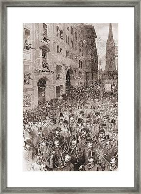 An Avalanche Of Telegraphic Tape Falls Framed Print