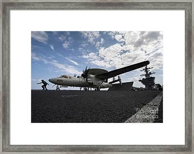 An E-2c Hawkeye Aircraft Prepares Framed Print by Stocktrek Images