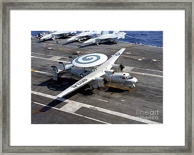 An E-2c Hawkeye Lands On The Flight Framed Print by Stocktrek Images