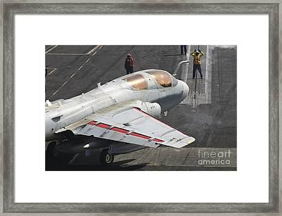 An Ea-6b Prowler Is Guided Onto Framed Print