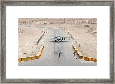 An Ea-6b Prowler Taxis To The Hangar Framed Print by Stocktrek Images