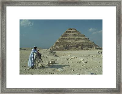 An Egyptian Man And Donkey At The Step Framed Print by Richard Nowitz