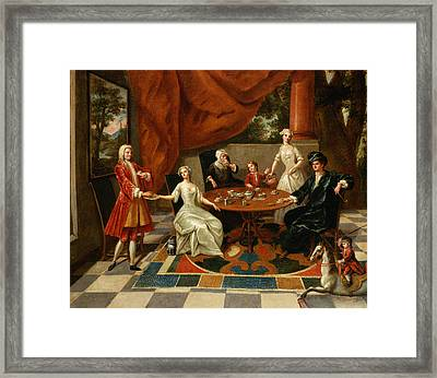 An Elegant Family Taking Tea  Framed Print by Gavin Hamilton