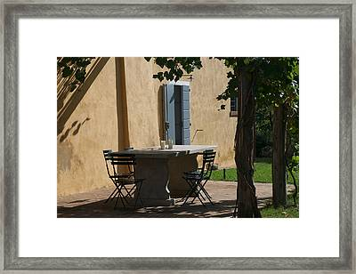 An Empty Table Awaits Residents Framed Print by Heather Perry