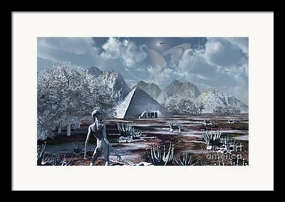 Ancient Inhabitants Digital Art Framed Prints