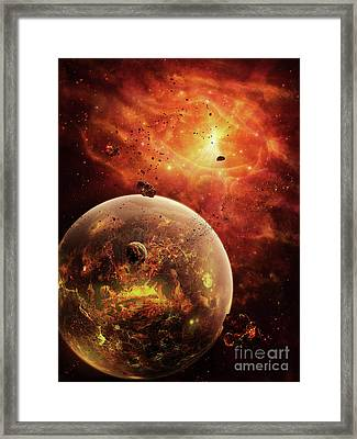 An Eye-shaped Nebula And Ring Framed Print by Brian Christensen