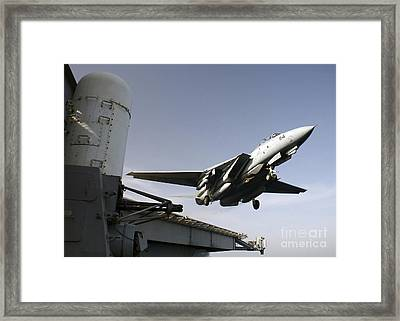 An F-14b Tomcat Launches Off The Flight Framed Print by Stocktrek Images