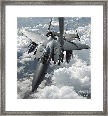 An F-15 E Strike Eagle Receives Fuel Framed Print by Stocktrek Images