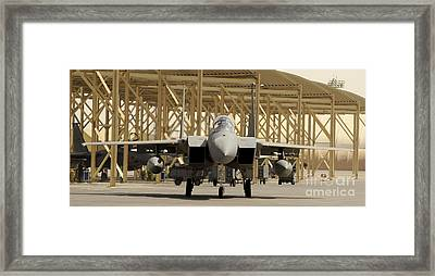 An F-15 Eagle Taxis Prior To A Training Framed Print by Stocktrek Images