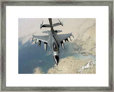 An F-16 Fighting Falcon Refuels Framed Print by Stocktrek Images