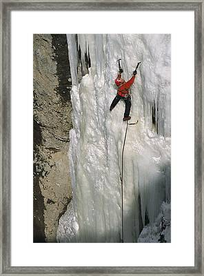 An Ice Climber Tackling The Formation Framed Print