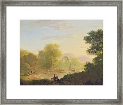 An Imaginary Coast Scene - With The Temple Of Venus At Baiae Framed Print