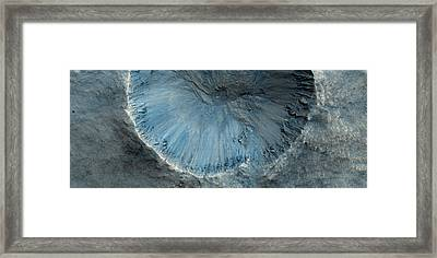 An Impact Crater On The Surface Of Mars Framed Print