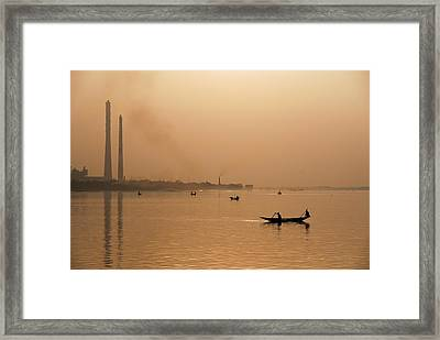 Framed Print featuring the photograph An Industrial Sunset by Fotosas Photography