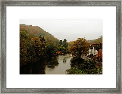 An Ironbridge Autumn Framed Print by Sarah Broadmeadow-Thomas