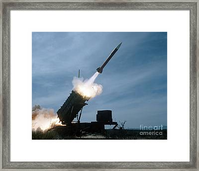 An Mim-104 Patriot Missile Is Test Framed Print by Stocktrek Images