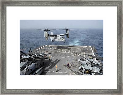 An Mv-22b Osprey Lands Aboard Framed Print
