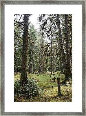 An Old Cemetary In A Forest Framed Print by Taylor S. Kennedy