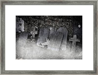 An Old Cemetery With Grave Stones And Fog Framed Print by Joana Kruse