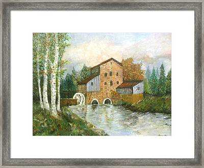 An Old House By The Forest-oil Painting Framed Print by Rejeena Niaz