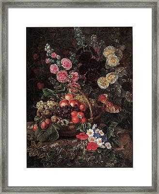 An Opulent Floral Still Life With Fruit Framed Print by Johan Laurentz Jensen